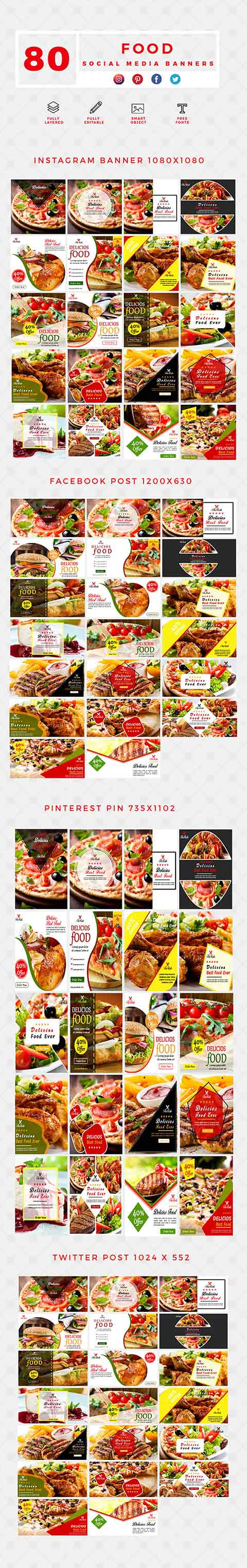 640 Social Media Banner Templates Bundle PREVIEW-FOOD