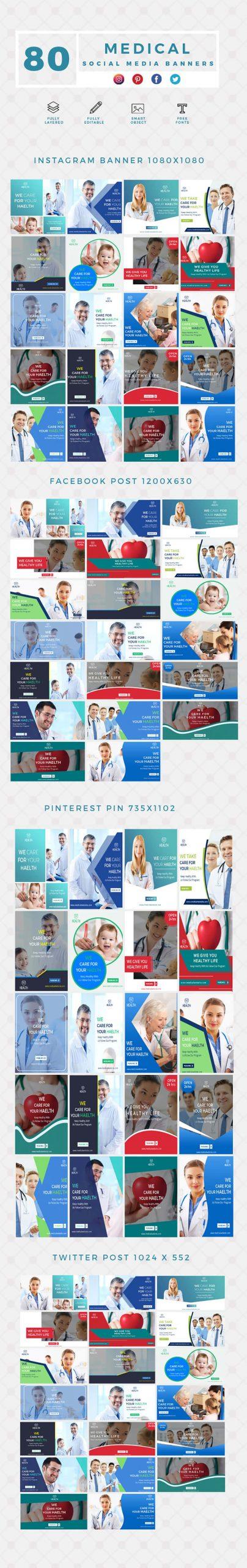 640 Social Media Banner Templates Bundle PREVIEW-MEDICAL