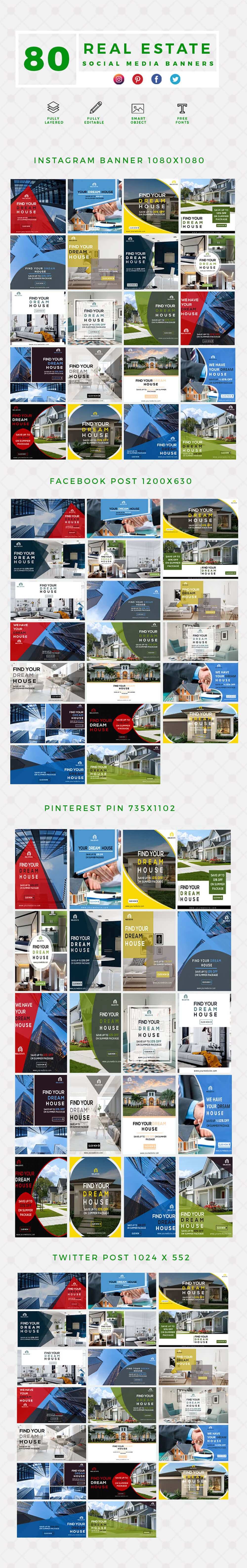 640 Social Media Banner Templates Bundle PREVIEW-REAL-ESTATE