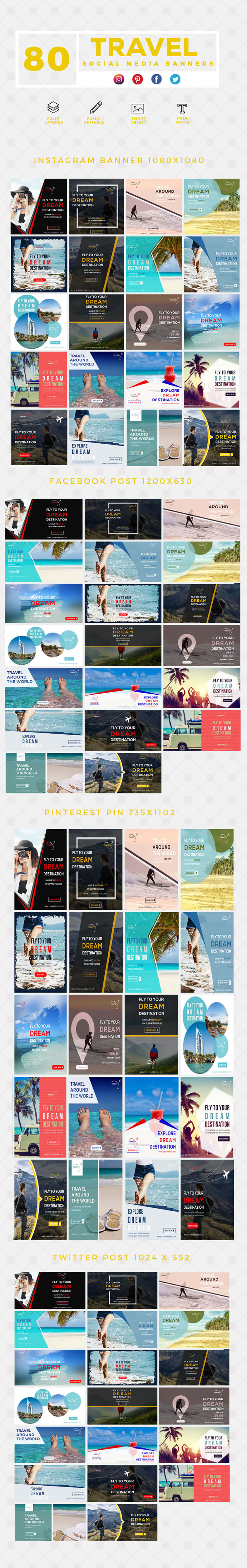 640 Social Media Banner Templates Bundle PREVIEW-TRAVEL
