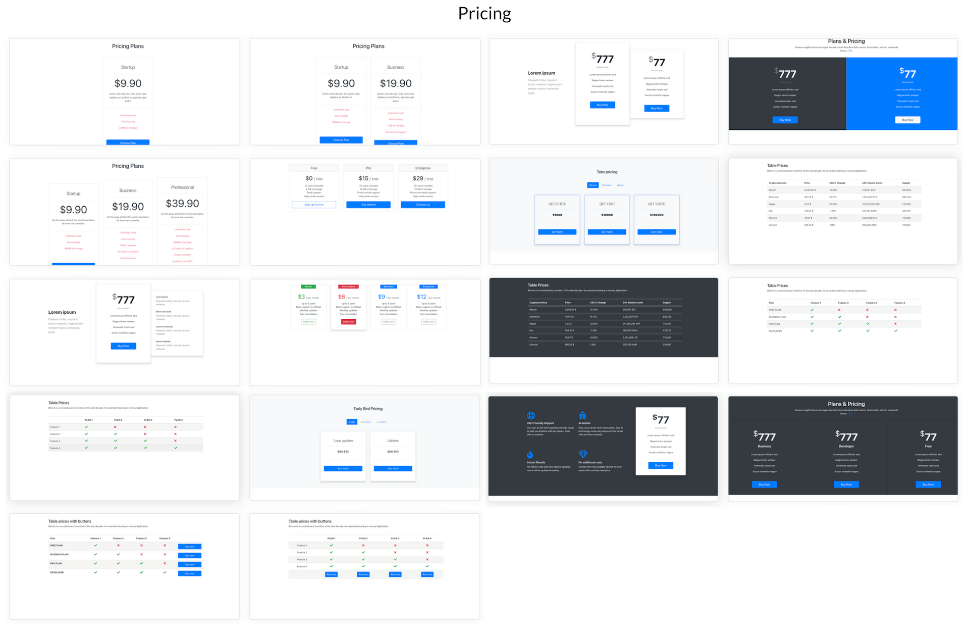 Elements Of Blueprints App, A Bootstrap Web Builder - Pricing