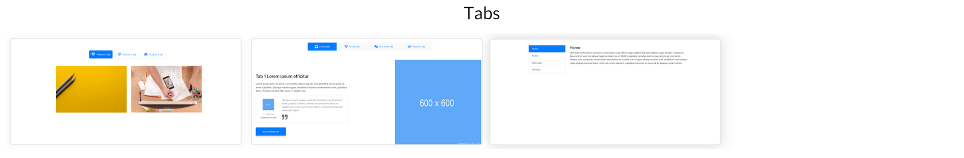 Elements Of Blueprints App, A Bootstrap Web Builder - Tabs