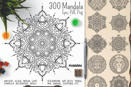 Bundle Of Mandala Ornaments - 300 Vector Mandala Ornaments Preview