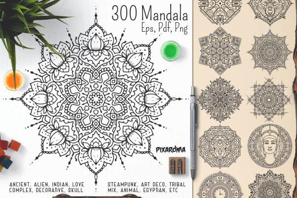Bundle Of Mandala Ornaments - 300 Vector Mandala Ornaments Preview