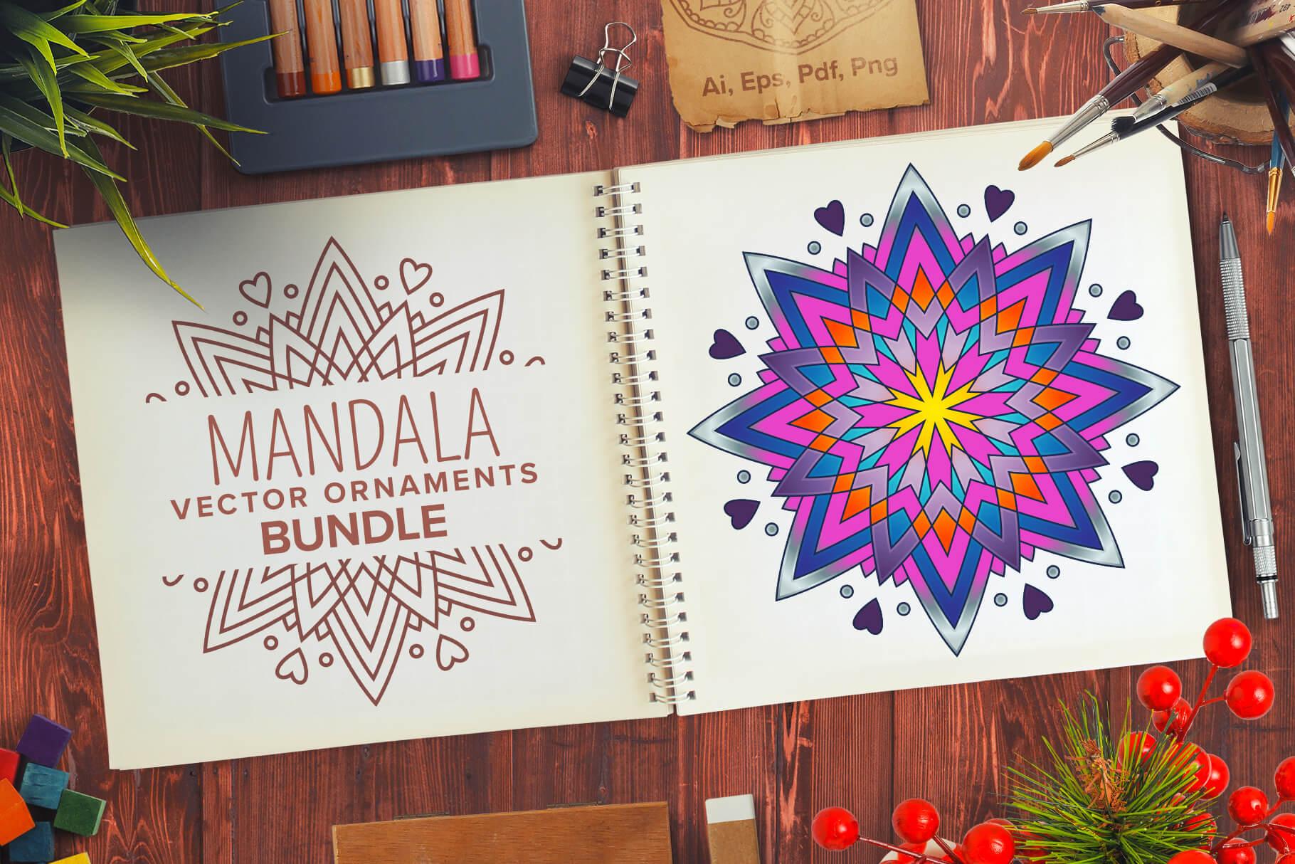 Bundle Of Mandala Ornaments - 01Mandala Vector Ornaments Bundle Preview