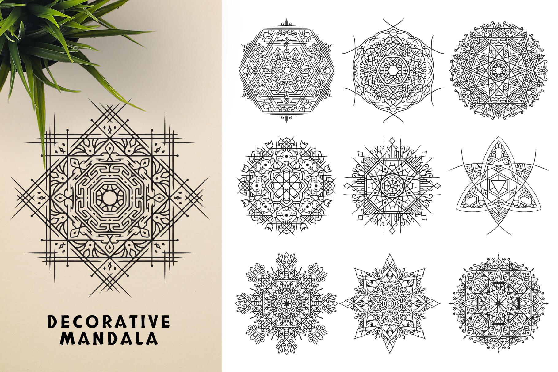 Bundle Of Mandala Ornaments - Descorative