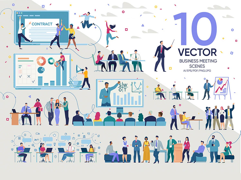 24-in-1 Flaticons Bundle: 10 Business Meeting Vector Scenes