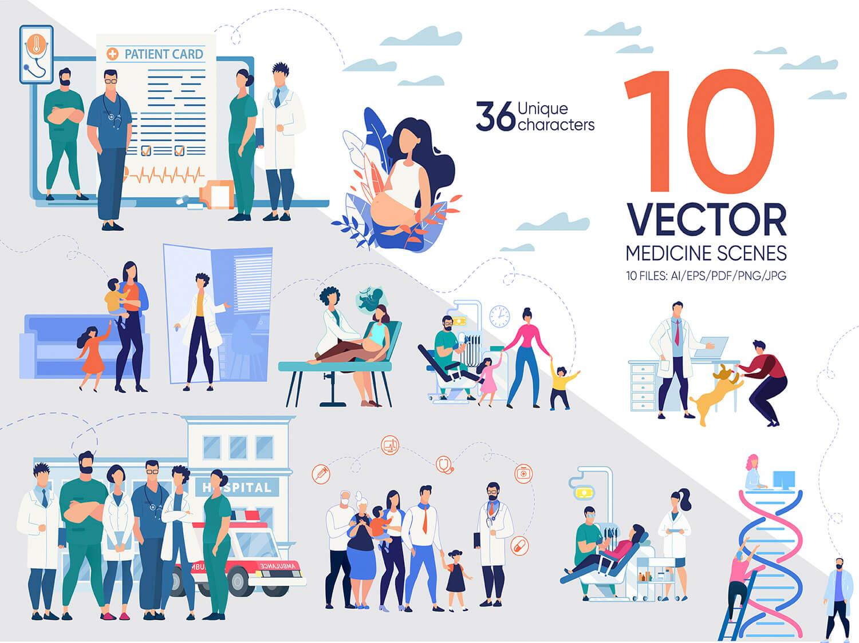 24-in-1 Flaticons Bundle: 10 Medicine Vector Scenes