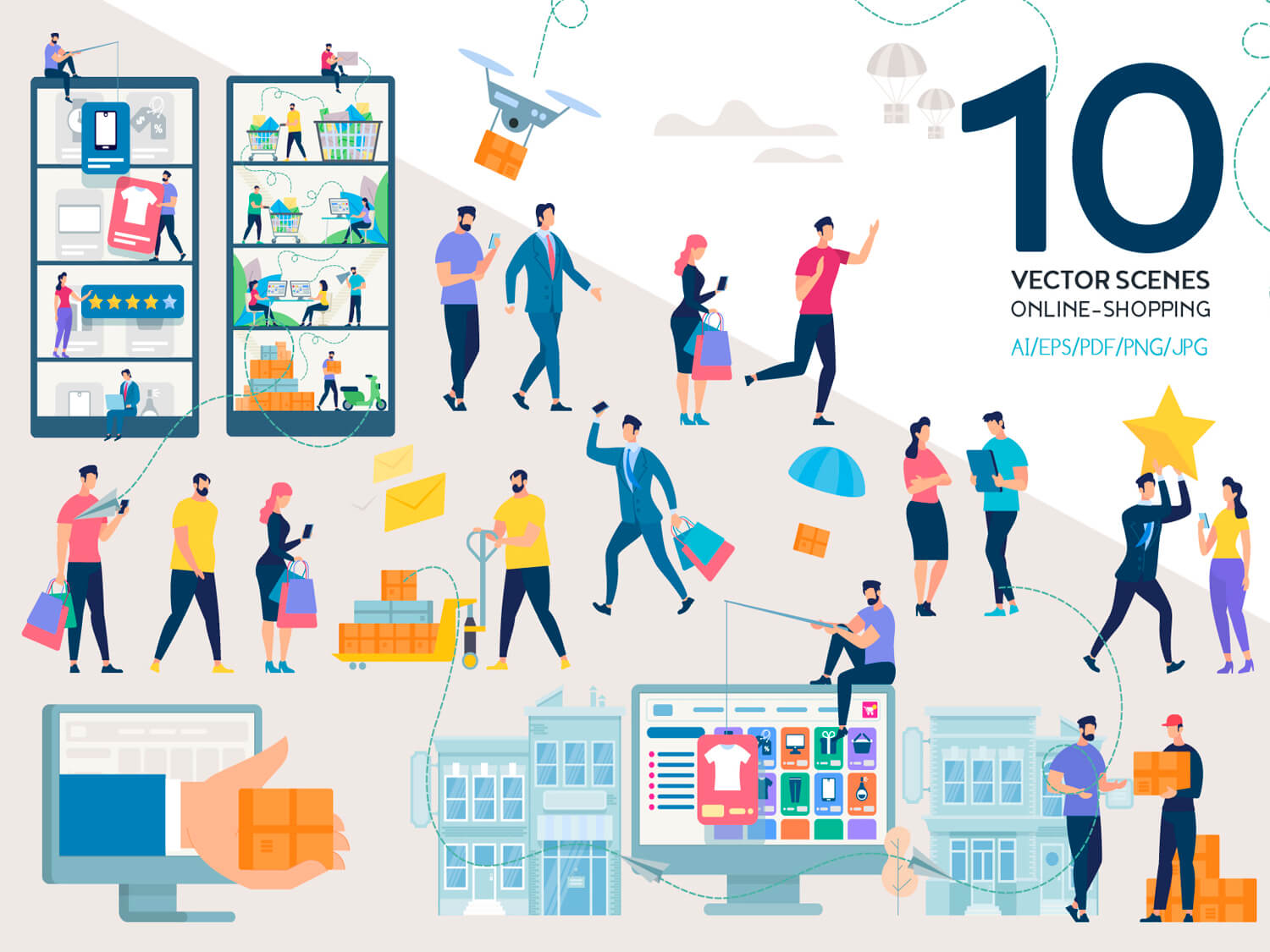 24-in-1 Flaticons Bundle: 10 Online Shopping Vector Scenes