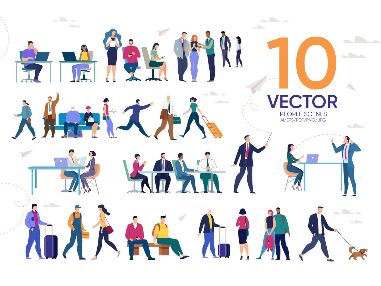 24-in-1 Flaticons Bundle: 10 People Vector Scenes -2