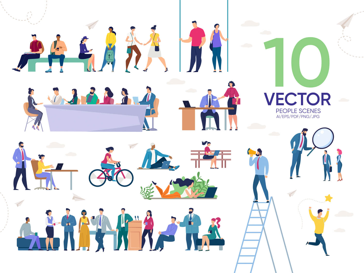 24-in-1 Flaticons Bundle: 10 People Vector Scenes