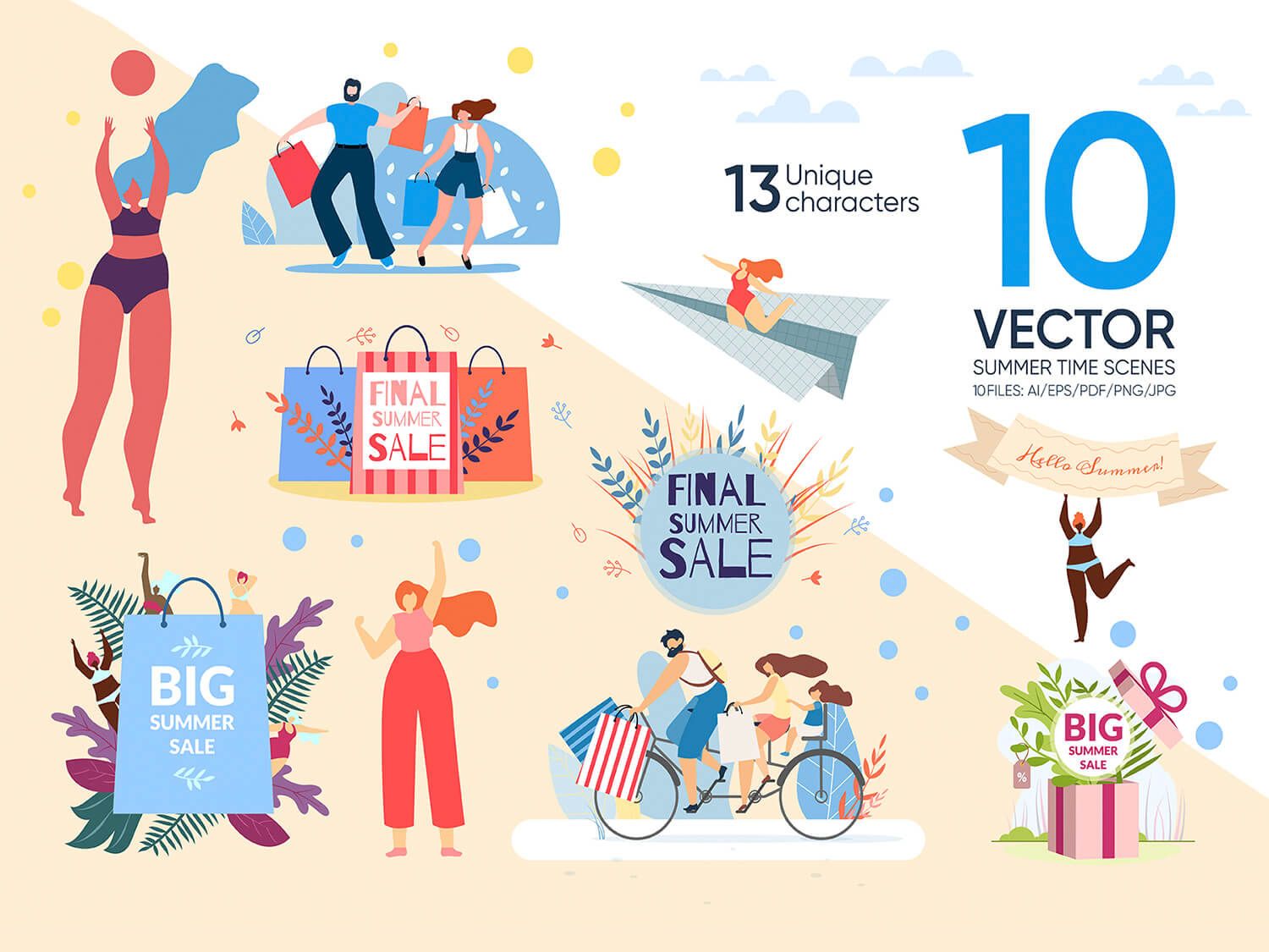 24-in-1 Flaticons Bundle: 10 Summer Time Vector Scenes