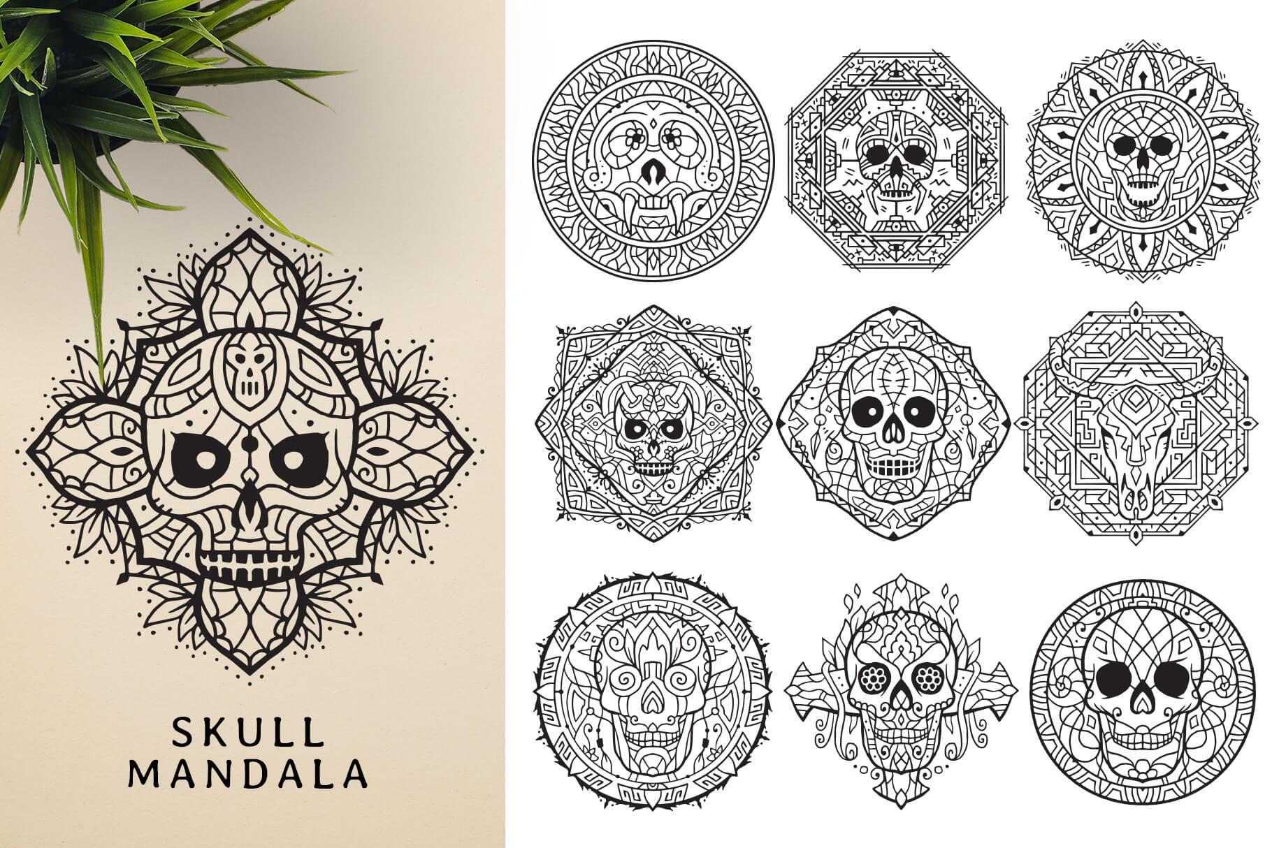 Bundle Of Mandala Ornaments - Skull