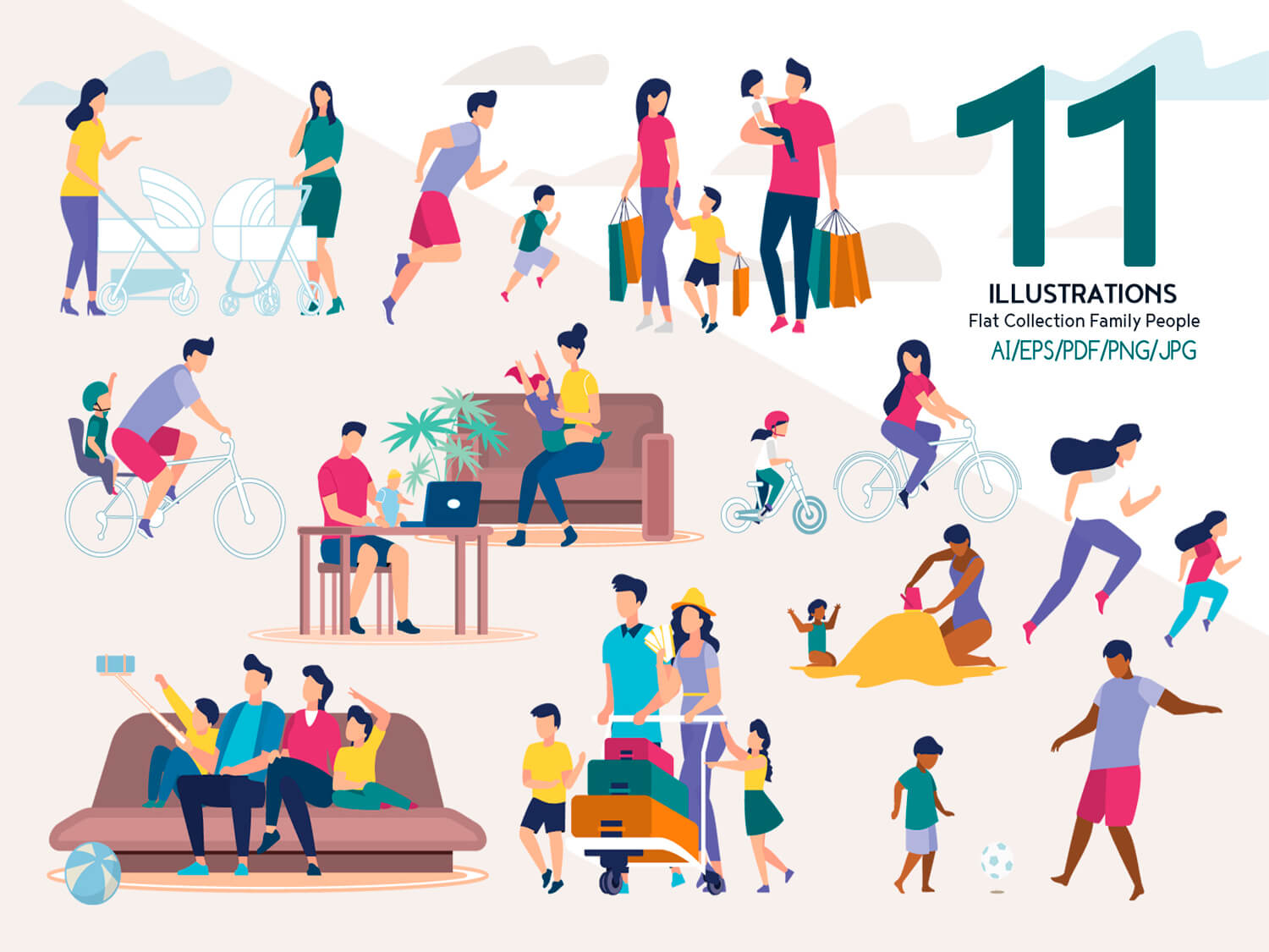 24-in-1 Flaticons Bundle: 11 Family People Vector Scenes