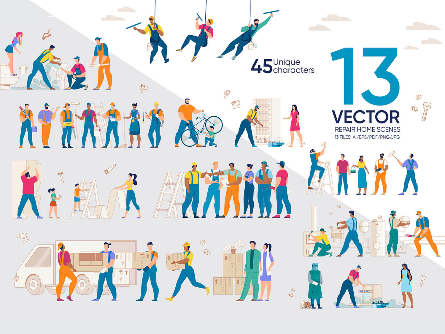 24-in-1 Flaticons Bundle: 13 Repair Home Vector Scenes