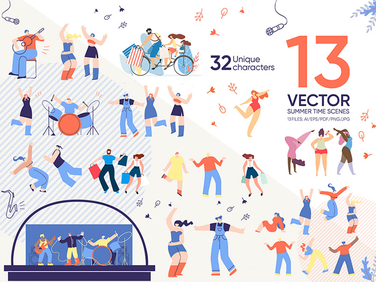 24-in-1 Flaticons Bundle: 13 Summer Time Vector Scenes