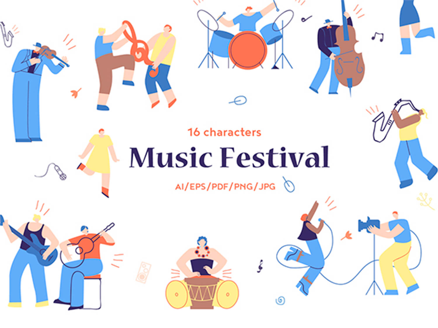 24-in-1 Flaticons Bundle: 16 Musical Fesival Characters