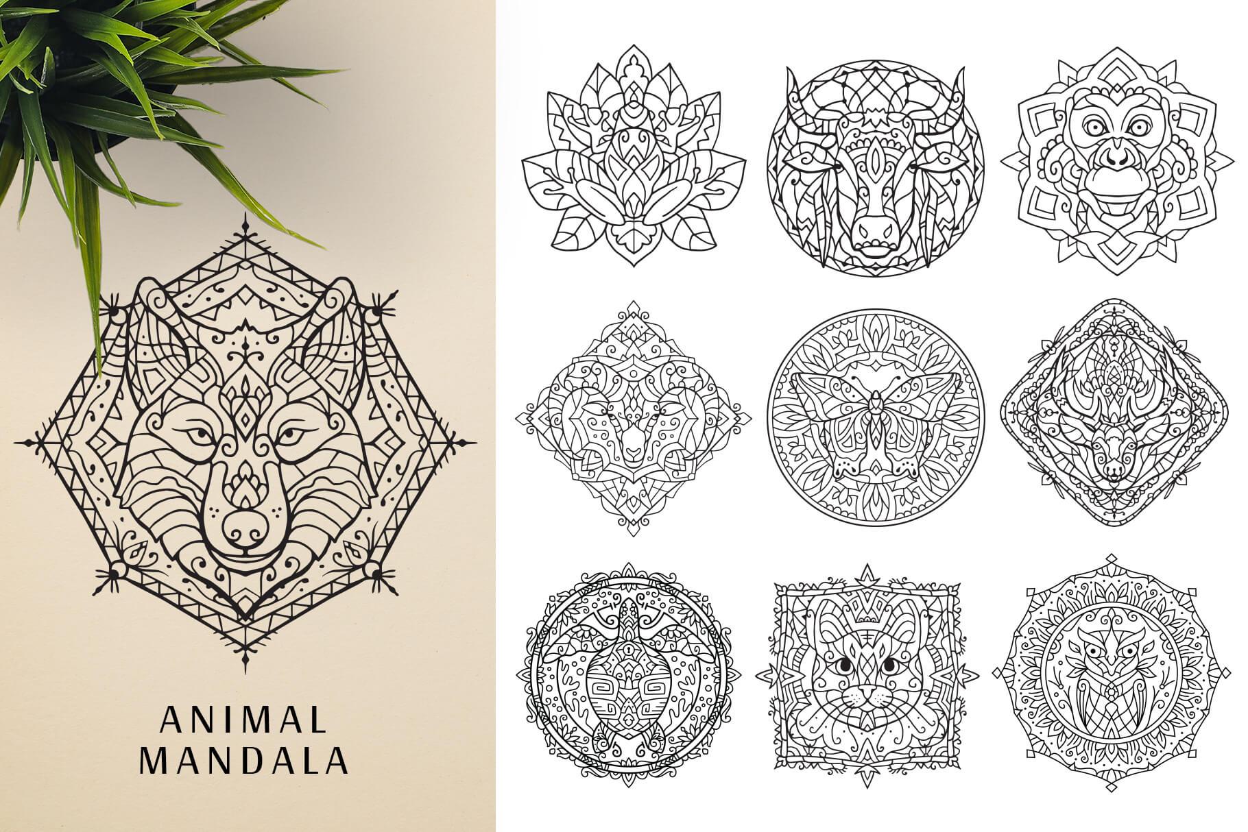 Bundle Of Mandala Ornaments - Animal Mandala