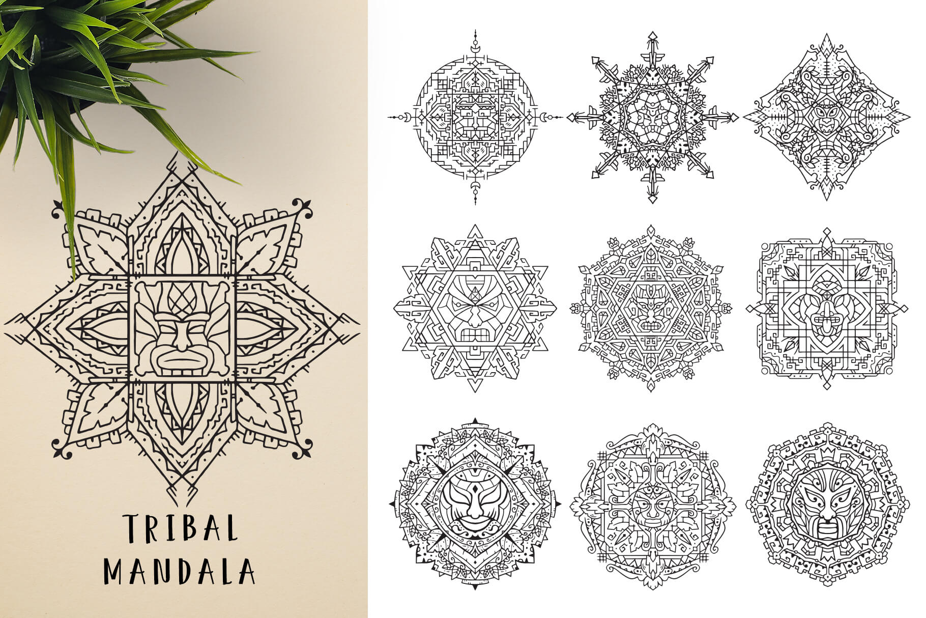Bundle Of Mandala Ornaments - Tribal 2