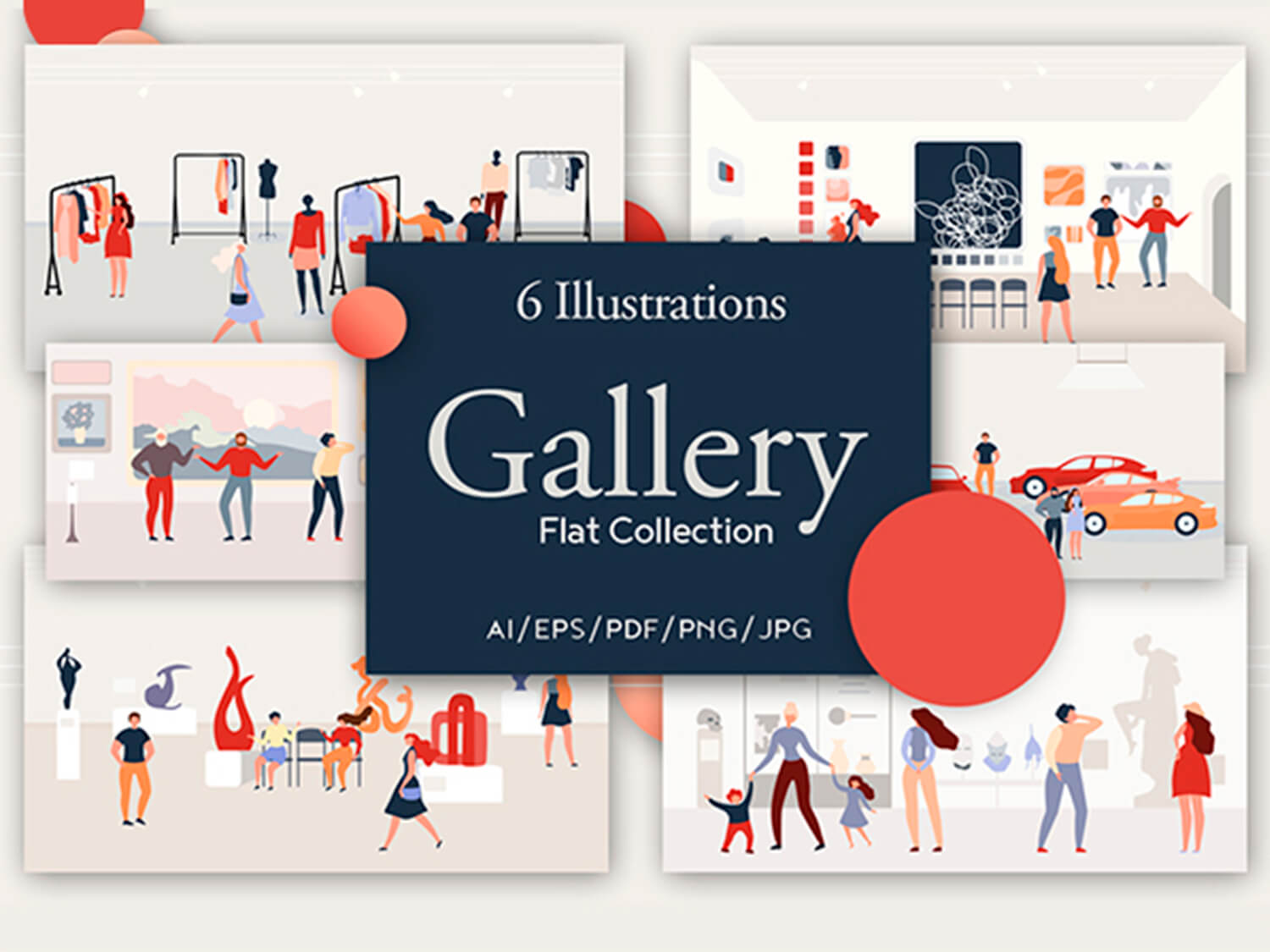 24-in-1 Flaticons Bundle: 6 Gallery Flat Illustrations