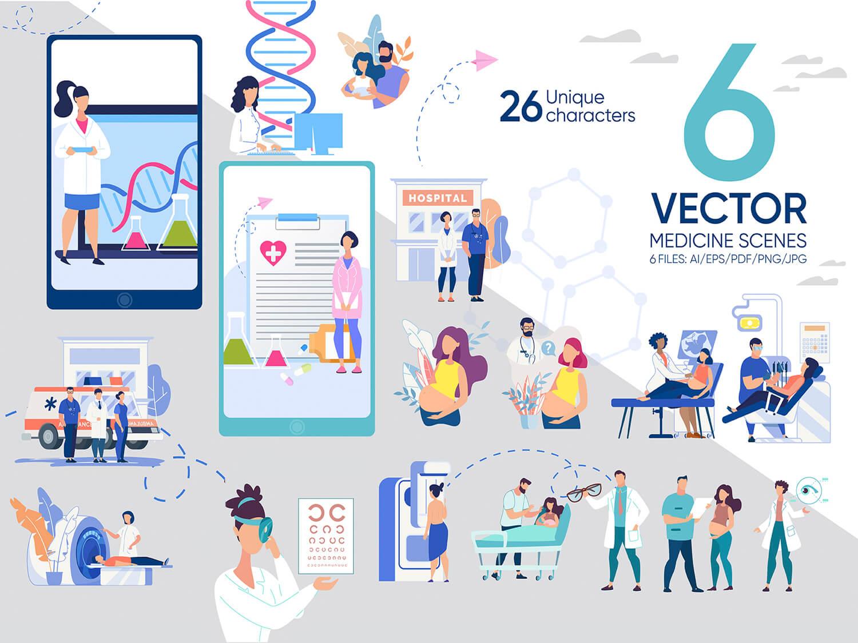 24-in-1 Flaticons Bundle: 6 Medicine Vector Scenes