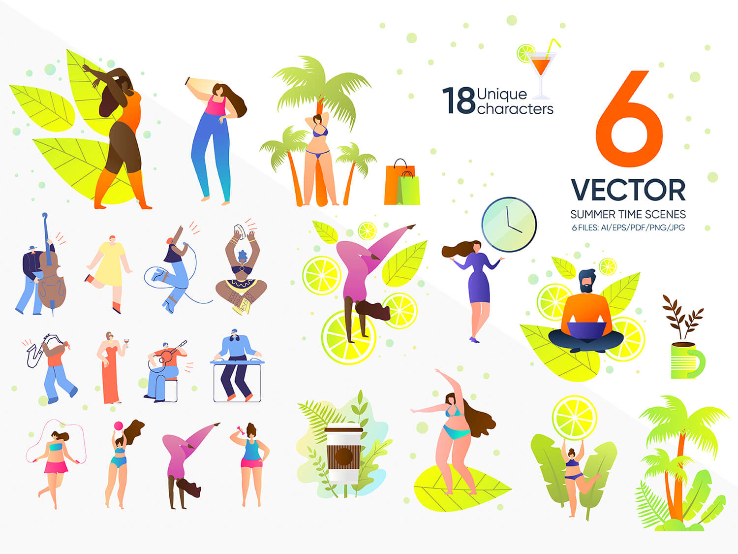 24-in-1 Flaticons Bundle: 6 Summer Time Vector Scenes