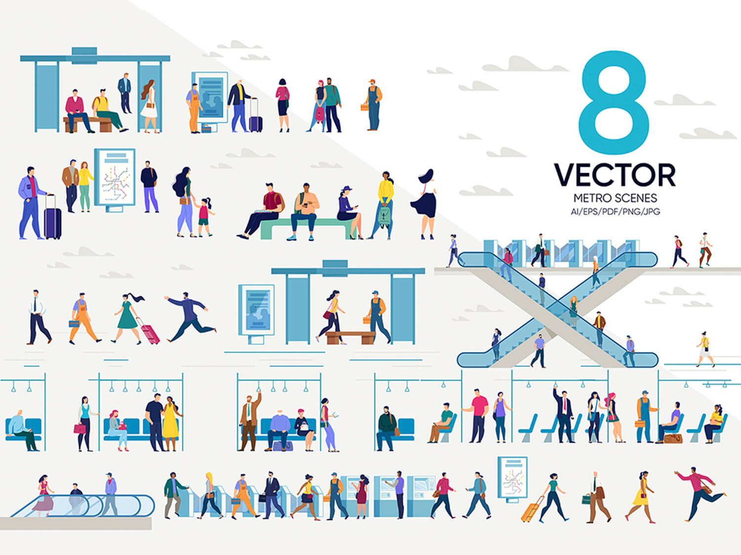 24-in-1 Flaticons Bundle: 8 Metro Vector Scenes