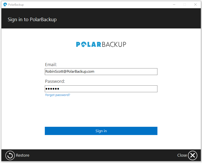 Polar Online Cloud Backup Solution - Sign In