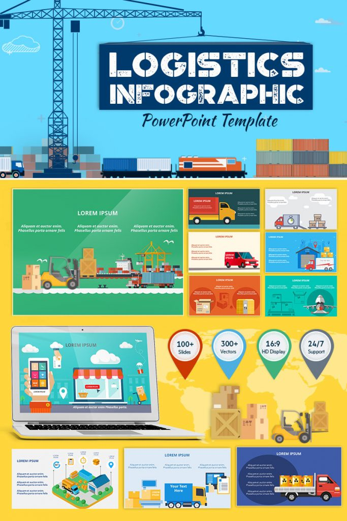 900+ Unique Powerpoint Presentation Templates - Logistic Infographic