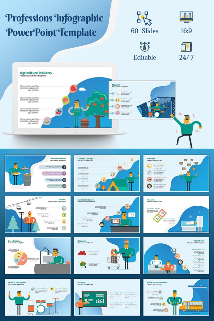 900+ Unique Powerpoint Presentation Templates - Professions Infographic
