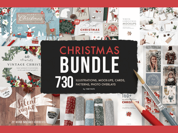 Christmas Bundle of 730 Elements Feature Image