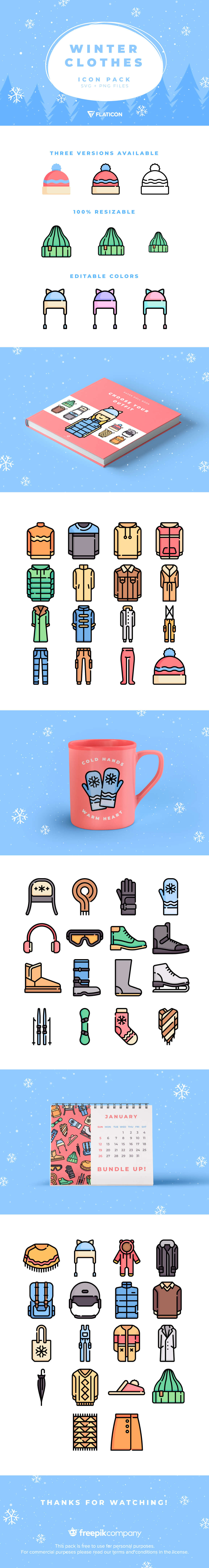 50 different Winter Clothing Icons