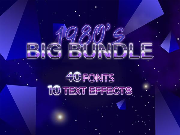 The 1980's Big Design Bundle Of 40 Fonts & 10 Retro Font Styles | DealClub