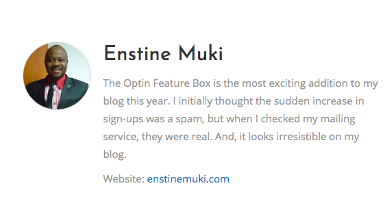 Testimonials Of Enstine Muki