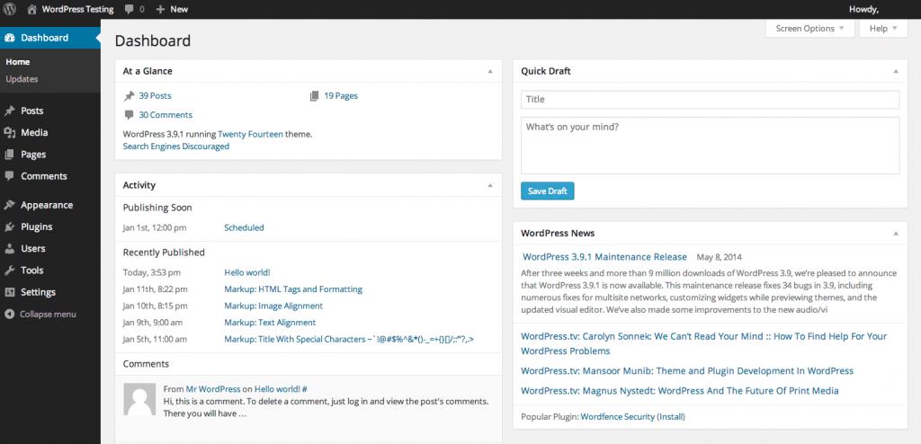 WordPress Dashboard Image