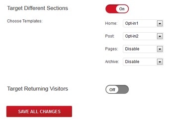 Target sections of the site- Plugmatter Optin Feature Box Plugin