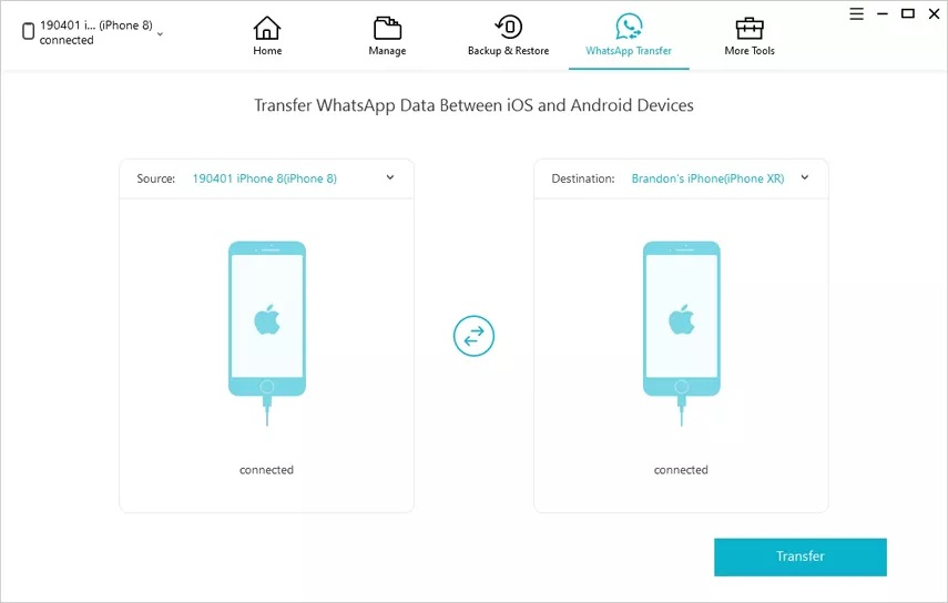 iCareFone WhatsApp Transfer Data Step - 1
