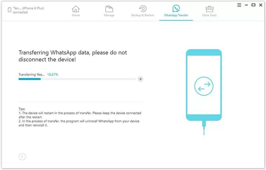 iCareFone WhatsApp Transfer Data Step - 2.2
