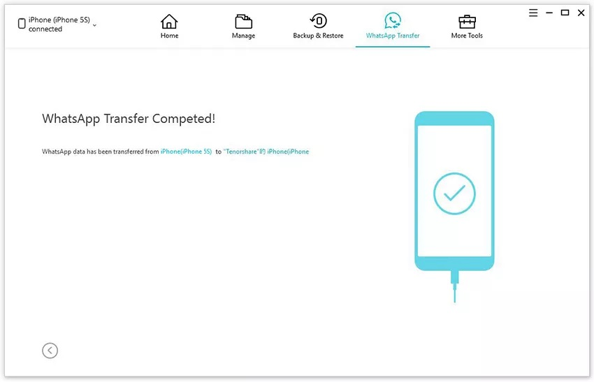iCareFone WhatsApp Transfer Data Step - 3