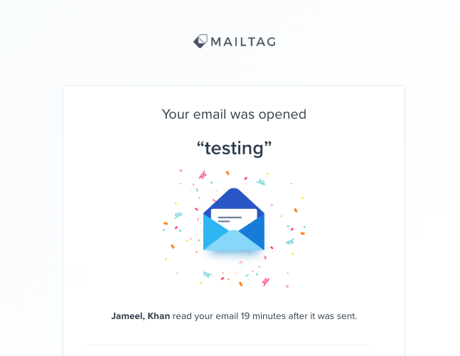 MailTag Email Tracker - Testing Notification