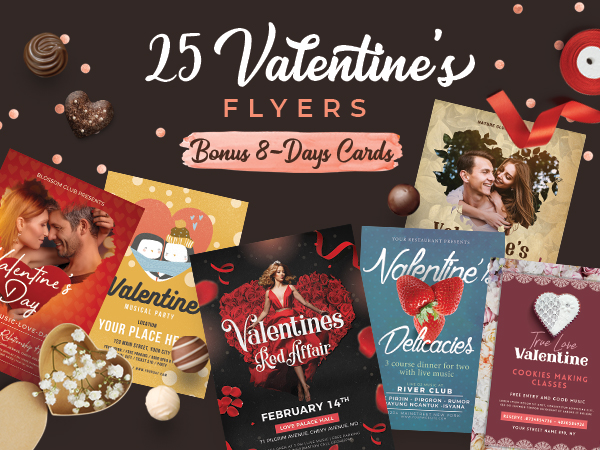 A Bundle Of 25 Valentine's Day Special Business Flyer Designs