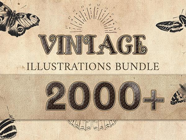 2000 Vintage Illustrations Bundle Feature Image