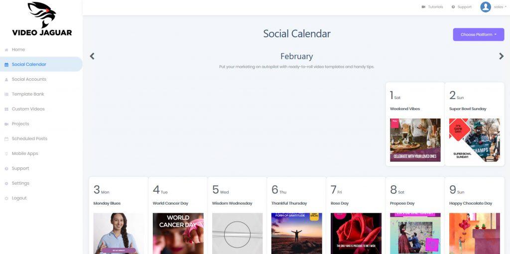 Video Jaguar: An All-In-One Video Marketing Software - Social Calendar