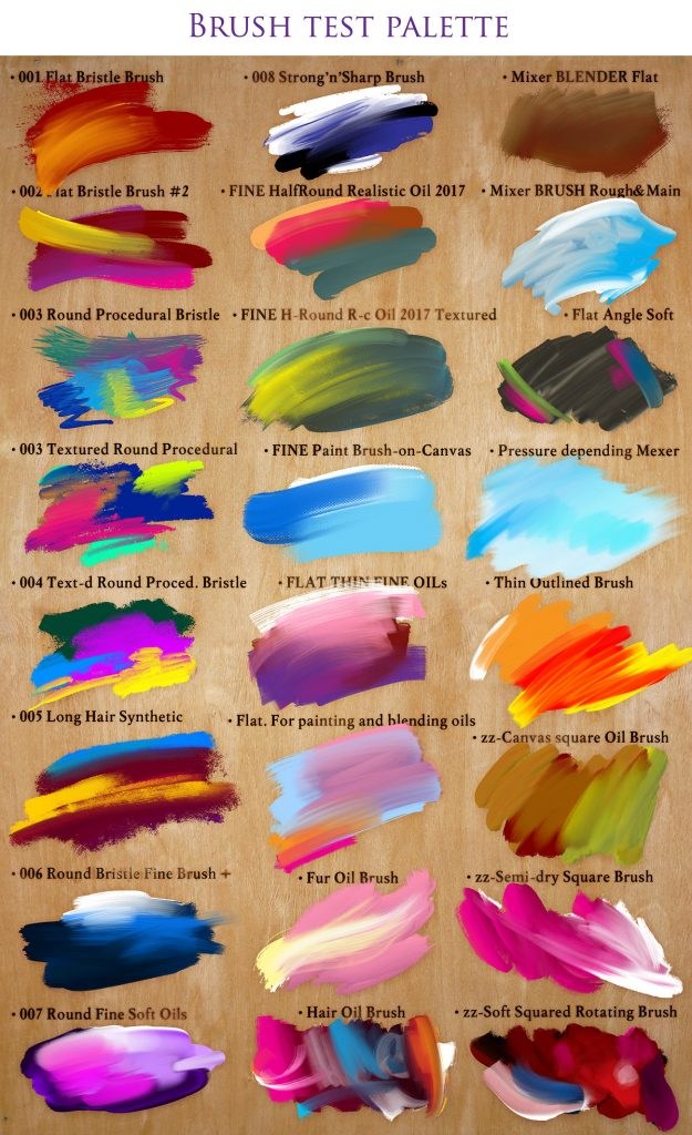 The Perfect Oil Bundle With 24 Photoshop Mixer Brushes - Brush Test Palette