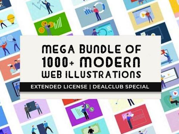 A Mega Bundle Of 1000+ Modern Web Illustrations – Extended License | DealClub