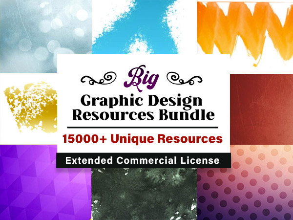 The Big Graphic Design Resources Bundle Of 15000+ Resources | Extended License