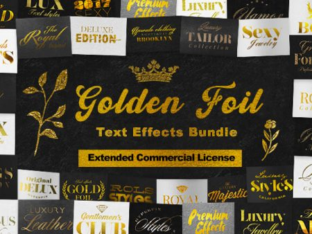 The Golden Foil Text Effects Bundle With An Extended Commercial License