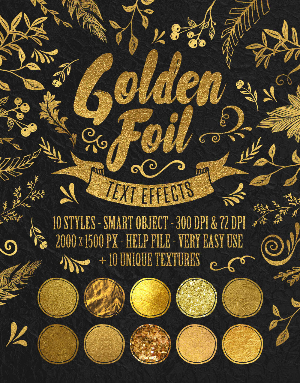 The Golden Foil Text Effects Bundle - Golden Foil Text Effects