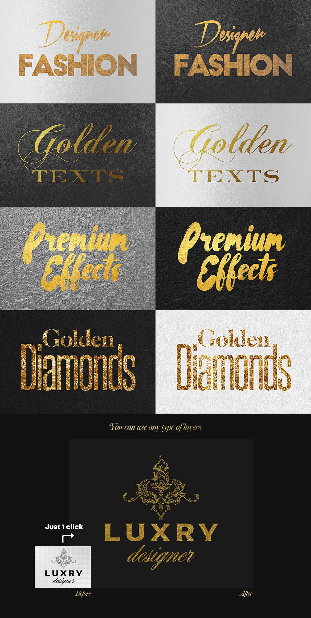 The Golden Foil Text Effects Bundle - Golden Foil Text Effects Preview 2