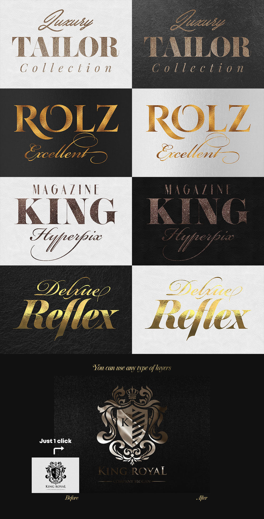 The Golden Foil Text Effects Bundle - Gold Styles Vol. 4 Preview - 2